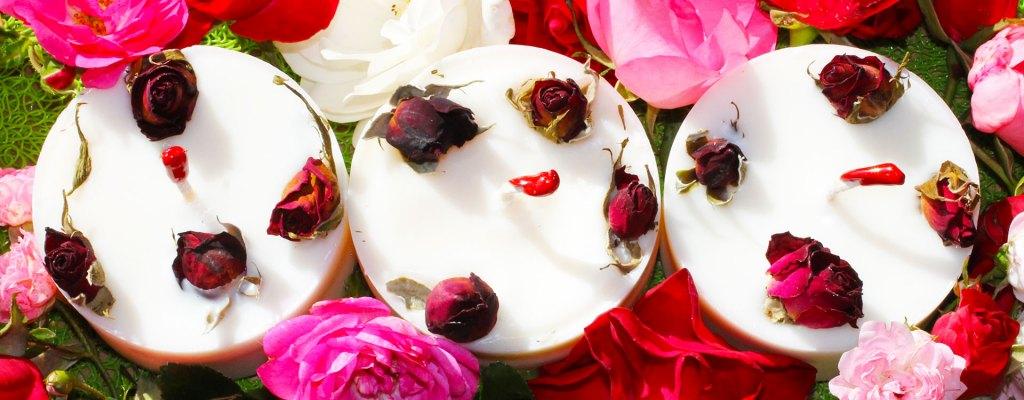 Bougies roses naturelles