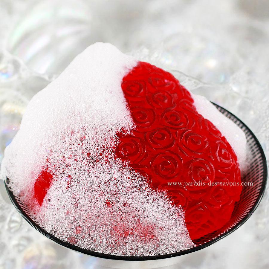 Savon cœur rose porte savon